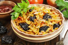 Cabbage stewed with prunes Stock Photography