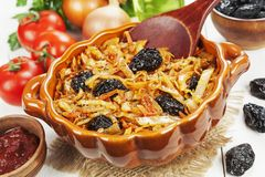 Cabbage stewed with prunes royalty free stock images