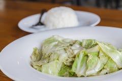 Cabbage stir fish sauce Royalty Free Stock Photo