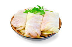 Cabbage stuffed with parsley in a dish Stock Photography