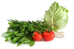 Cabbage tomato spinach onions sorrel parsley Royalty Free Stock Image