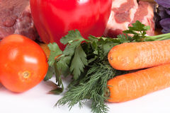 Cabbage, tomatoes, meat, potato, dill, parsley, basil Stock Photo