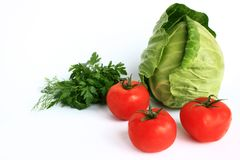 Cabbage, tomatoes and parsley Stock Photography