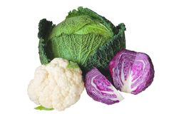 Cabbage varieties. Savoy cabbage, red cabbage and cauliflower, isolated on white background Stock Photography