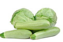 Cabbage and vegetable marrows Stock Image
