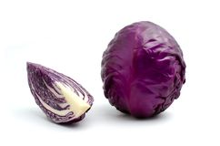 Red cabbage, purple cabbage, Brassica oleracea var capitata on w. Cabbage is vegetable organic food ingredients Can be used for cooking Stock Photo