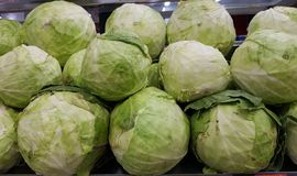 Cabbage in vegetable super market for sale stock photos