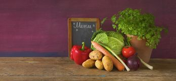 Cabbage, vegetables,black board, cooking concept, Royalty Free Stock Photography
