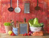 Cabbage and vegetables, menu black board Stock Photos