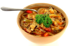 Cabbage, vegetables and mushrooms vegetarian soup Royalty Free Stock Image