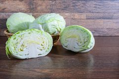 Cabbage on wooden table royalty free stock photography