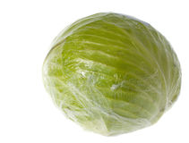 Cabbage wrapped in cellophane isolated Royalty Free Stock Photography