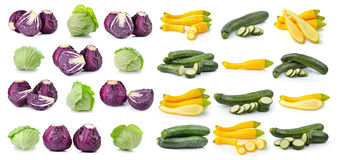 Cabbage and  zucchini isolated Stock Images