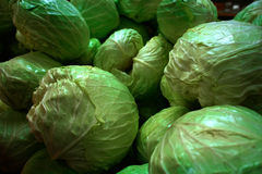 Cabbages. On display at vegetable market Stock Image