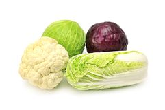 Cabbages. Isolated on a white royalty free stock image