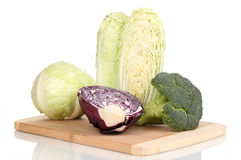 Cabbages and broccoli Stock Image