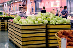 Cabbages in the supermarket Royalty Free Stock Photo
