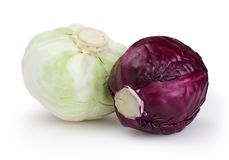 Cabbages  on white background Royalty Free Stock Photos