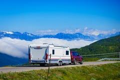 Cabby trailer on road, 5 JULY 2018, Vikafjellet Norway