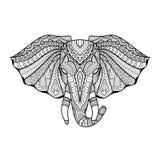 Cabeça étnica original de tiragem do elefante para a cópia, teste padrão, logotipo, ícone, projeto da camisa, página colorindo Foto de Stock Royalty Free