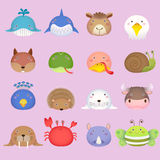 A cabeça animal dos desenhos animados bonitos ajustou 3 Imagem de Stock Royalty Free