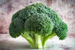 Cabeça bonita do close-up dos brócolis na tabela foto de stock