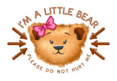 Cabeça bonito do urso com texto e setas Imagens de Stock