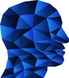 Cabeça, cara dos triângulos no logotipo azul, principal e humano ilustração do vetor