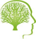 Cabeça, cara e árvore, cabeça e logotipo humano ilustração stock