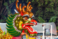 Cabeça chinesa do dragão usada nas danças para o chinês tradicional Drago Fotografia de Stock Royalty Free
