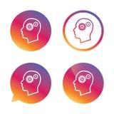 Cabeça com ícone do sinal das engrenagens Cabeça humana masculina Imagens de Stock