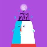 Cabeça com fábrica das ideias e homem de negócio ilustração do vetor