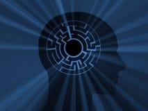 Cabeça com labirinto. imagem 3D Foto de Stock