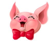 Cabeça cor-de-rosa alegre do porco e curva vermelha no branco ilustração stock