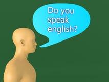 a cabeça 3D e você fala o inglês ilustração do vetor