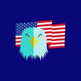 Cabeça da águia e bandeira americana Fotos de Stock