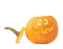 cabeça da abóbora do Dia das Bruxas das Jack-o'-lanternas Foto de Stock Royalty Free