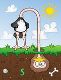 Cabeça da avestruz na areia Imagens de Stock