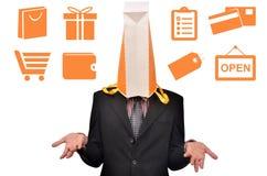 Cabeça da coberta do saco de compras Imagem de Stock Royalty Free
