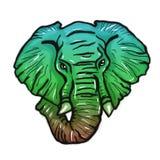 Cabeça da cor brilhante do elefante estilizada Imagem de Stock Royalty Free