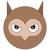 Cabeça da coruja no estilo liso dos desenhos animados ilustração royalty free