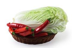 Cabeça da couve da porcelana e da pimenta vermelha isoladas no branco Fotografia de Stock