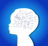 Cabeça da criança com ícones da educação Imagens de Stock