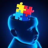 Cabeça da criança com o cérebro do enigma de serra de vaivém Foto de Stock