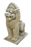 Cabeça da estátua chinesa do leão no templo Tailândia Fotografia de Stock