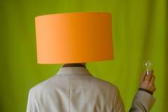 Cabeça da lâmpada do homem de negócios fotos de stock royalty free