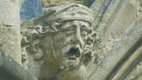 Cabeça da mísula na parte dianteira ocidental da catedral B de Salisbúria imagens de stock