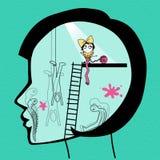 A cabeça da menina interna ilustração do vetor