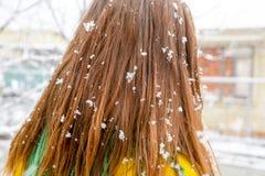 A cabeça da menina nos flocos de neve Flocos de neve no cabelo da menina Fotografia de Stock