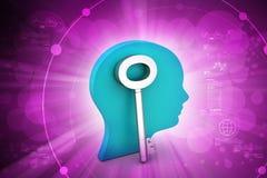 cabeça da mulher 3d com chave Imagens de Stock